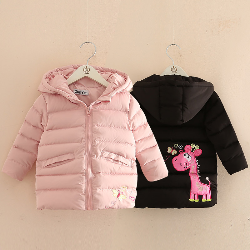 2018 Fashion Girls Long Padded Jacket Children Winter Coat Kids Warm Thickening Hooded Down Coats Children's Winter Jackets цена 2017