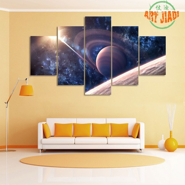 5 Pieces Canvas Art Saturn Satellite Sunshine Night Outer Space Sky ...
