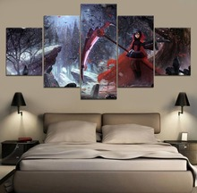 HD Print Decor Ruby Rose RWBY Anime Modern Painting Canvas Wall Art 5 Piece Home Living Room Artwork