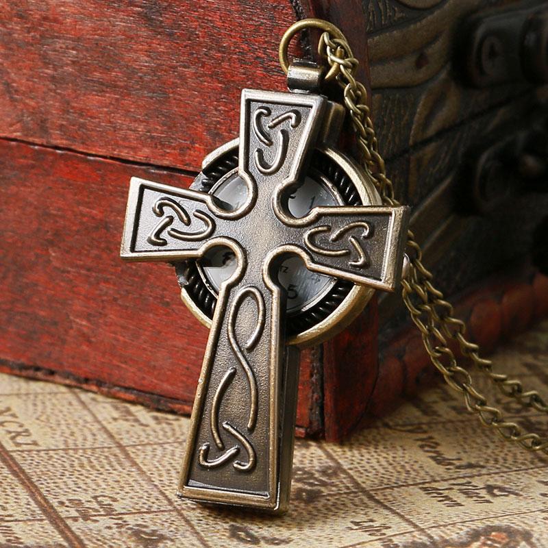 Cool Cross Design Vintage Bronze Quartz Fob Pendant Pocket Watch With Necklace Chain Best Gift