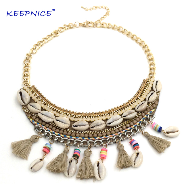 New Bohemia Boho Eathic Cowrie Shell Handmade Necklace Collier Femme Statement Necklace Thread Tassel Pendant Choker Necklace