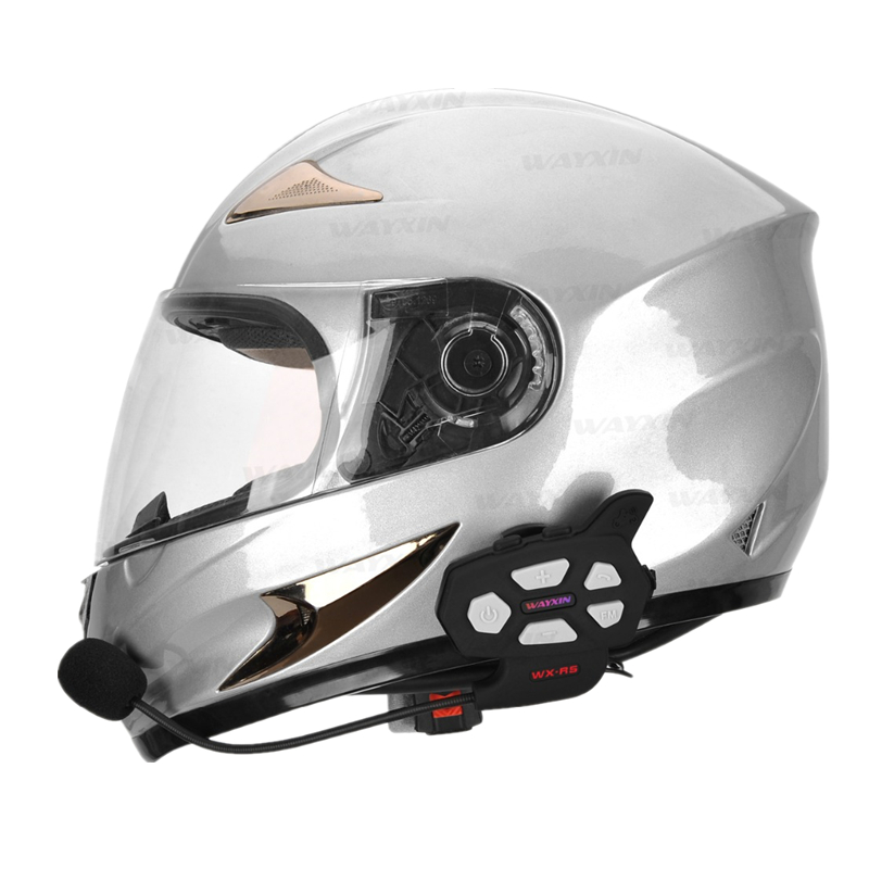 WAYXIN R5 2PCS Motorcycle Bluetooth Intercom 1000M Interphone Built-in FM Radio Large Volume Moto Bluetooth Helmet Walkie-talkie