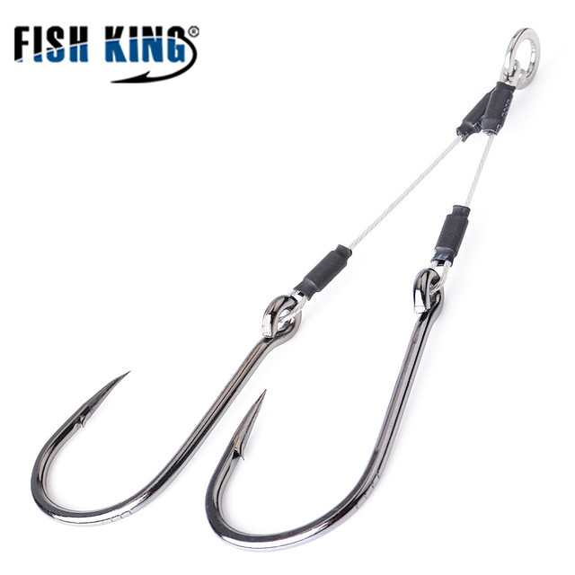 FISH KING 100/120/150Lbs Metal Jig Double Hook High Carbon Steel 5/0#-12/0# Assist Hooks With Line Fishing Hook