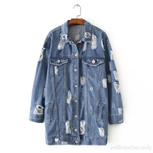 Women Autumn Fashion Basic Loose Holes Single Breasted Blue Denim Overcoat Long Jacket Frayed Windbreaker Cardigan Warm Chaqueta