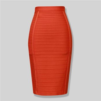 Seamyla 2019 Pencil Skirts Women Red Blue Black Orange Bodycon Bandage Skirt Sexy Knee Length Striped Midi Skirt Club High Waist 2