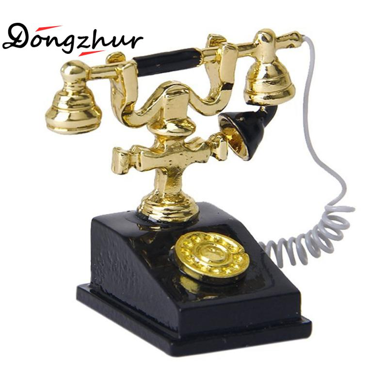 Dongzhur Miniature Black Retro Phone 1:12 Doll House Accessories Dollhouse Luxury Elegant Noble Small Exquisite Mini Retro Phone