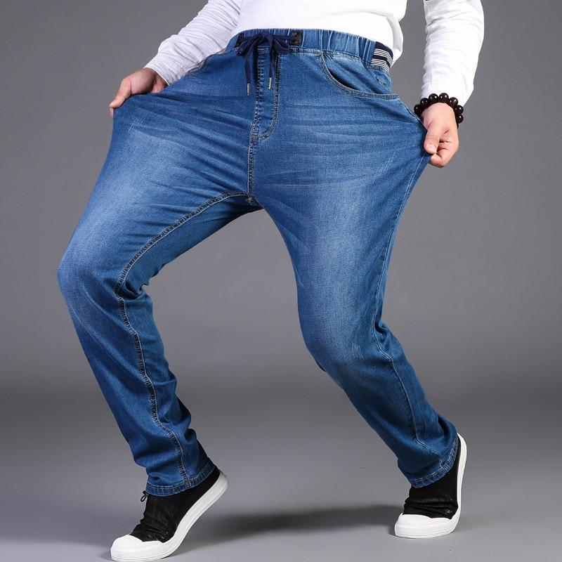 Men Jeans Pants Large Size 44 46 48 Trousers  High Strech Jeans Pants Elastic Waist Denim Pants Straight 6xl 7xl 8xl 9xl Pants
