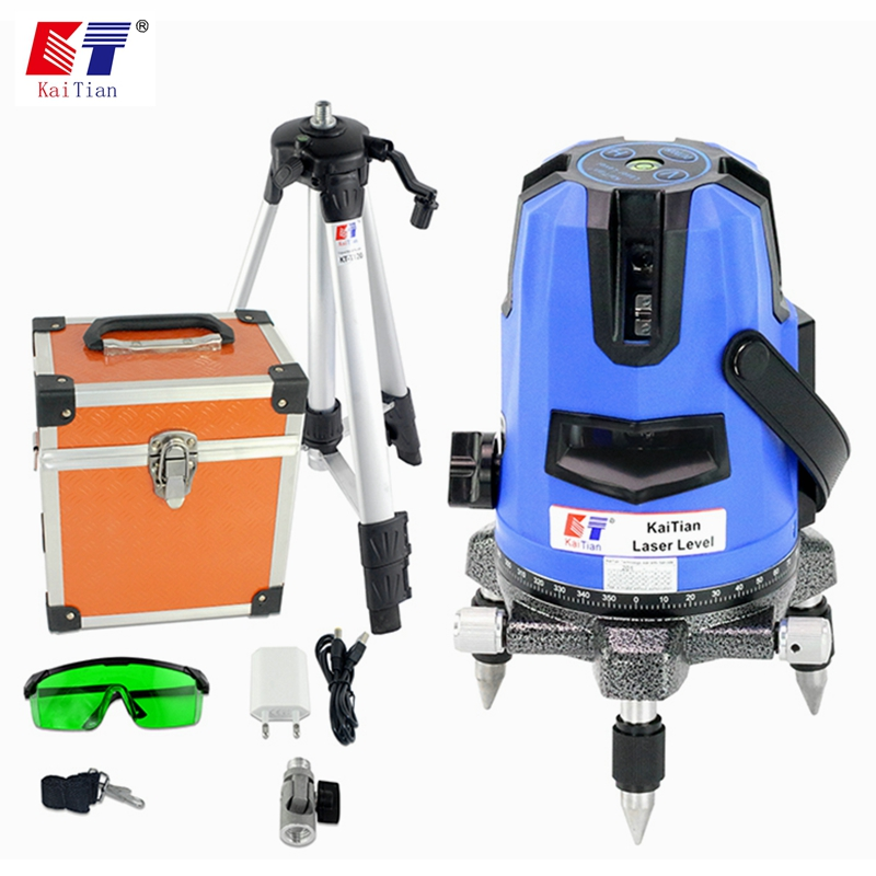 цена на KaiTian Laser Level Tripod 5 Lines Self-Leveling 360 Rotary Horizontal 532nm Vertical Green Lasers Beam Line Levels Nivel Tools