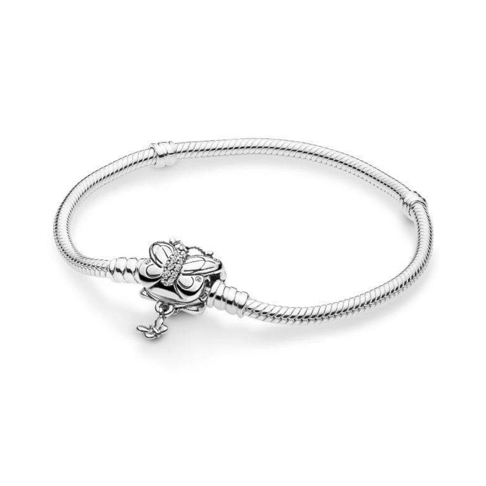 2019 Spring Original Moments Silver Bracelet with Decorative Butterfly Clasp Charms fits all Pandora Charms Beads DIY Jewelry.2019 Spring Original Moments Silver Bracelet with Decorative Butterfly Clasp Charms fits all Pandora Charms Beads DIY Jewelry.