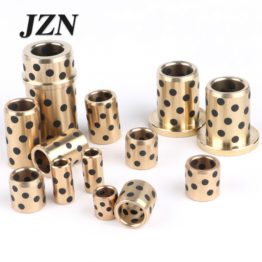 12/13/14mm JDB inlaid graphite copper sleeve oil-free bushings self-lubricating oil bearing copper sleeve diameter lm40uu solid inlay graphite self lubricating linear bearings bushings without oil graphite copper sleeve 40 60 80