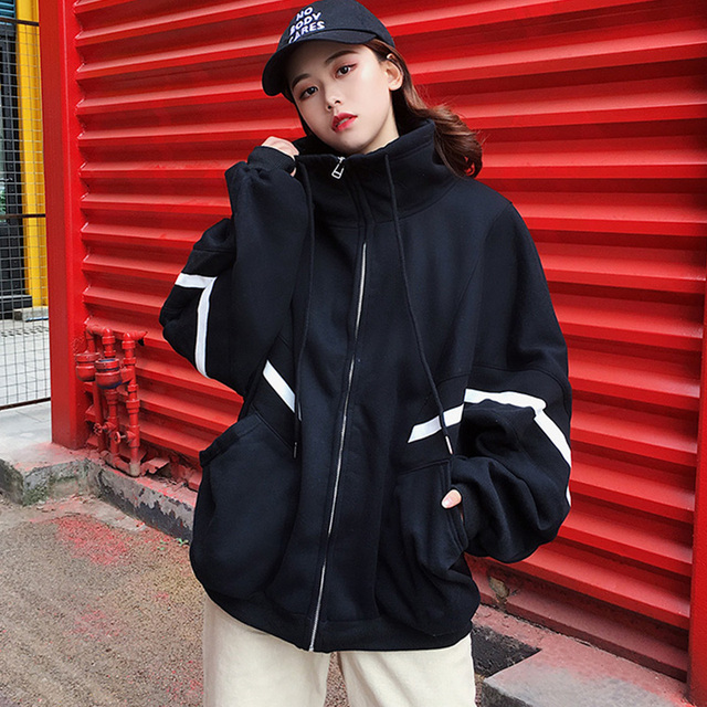 2dc49bb05ec Harajuku Thicken Autumn Winter Jacket Women Zipper Pockets Casual Batwing  Long Sleeves Oversized Coats Black Jacket Red Outwear