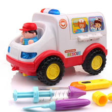 Free Shipping 836 Smart Ambulance Simulation Toy Car Baby Carriage and Early Education Electric