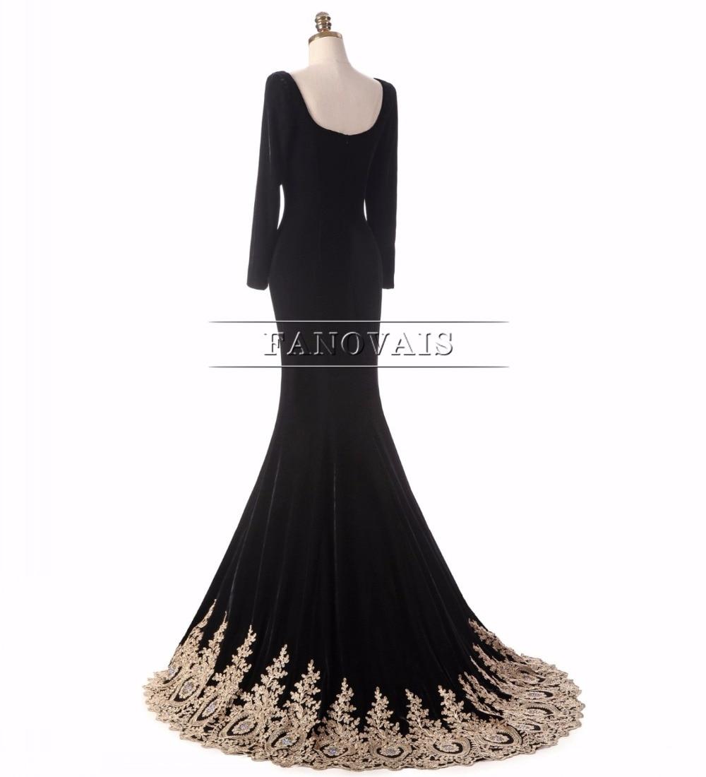 Virkelig bilde Muslim Dubai Gull Appliques Perler Velet Svart Kjole - Spesielle anledninger kjoler - Bilde 2