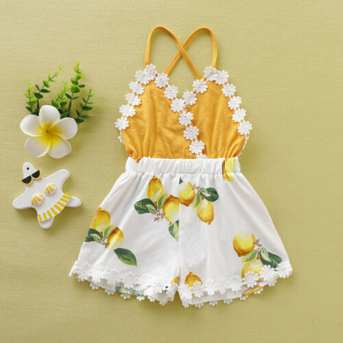 Toddler Kids Baby Girl Tassel Backless Lace Patchwork Lemon Printed Fashion Romper Clothes Sunsuit Outfits 2019 New