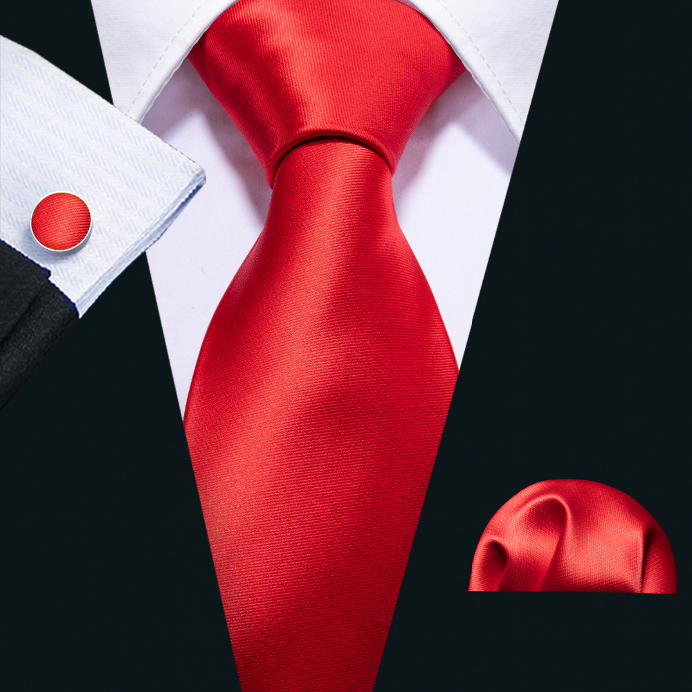 Barry.wang Red Wedding Tie Set 100% Silk Fahsion Designer Neck Tie For Men Gift Wedding Groom Business Dropshipping Tie FA-5111