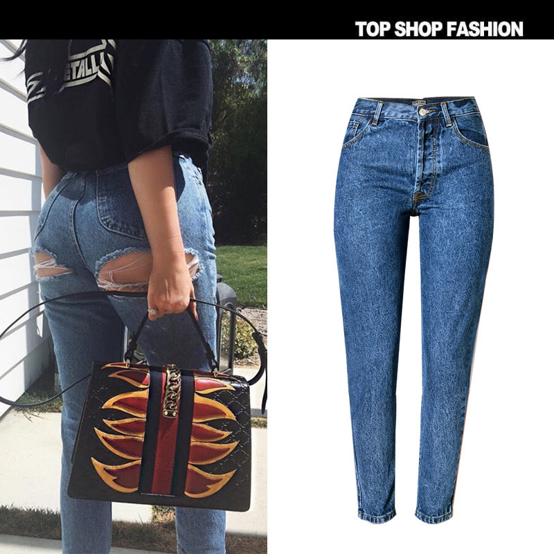 TREND-Setter 2017 Spring Autumn Sexy Hole Jeans Women Blue Slim Denim Pants Ripped on the Hip Streetwear Cotton Europe size32-42