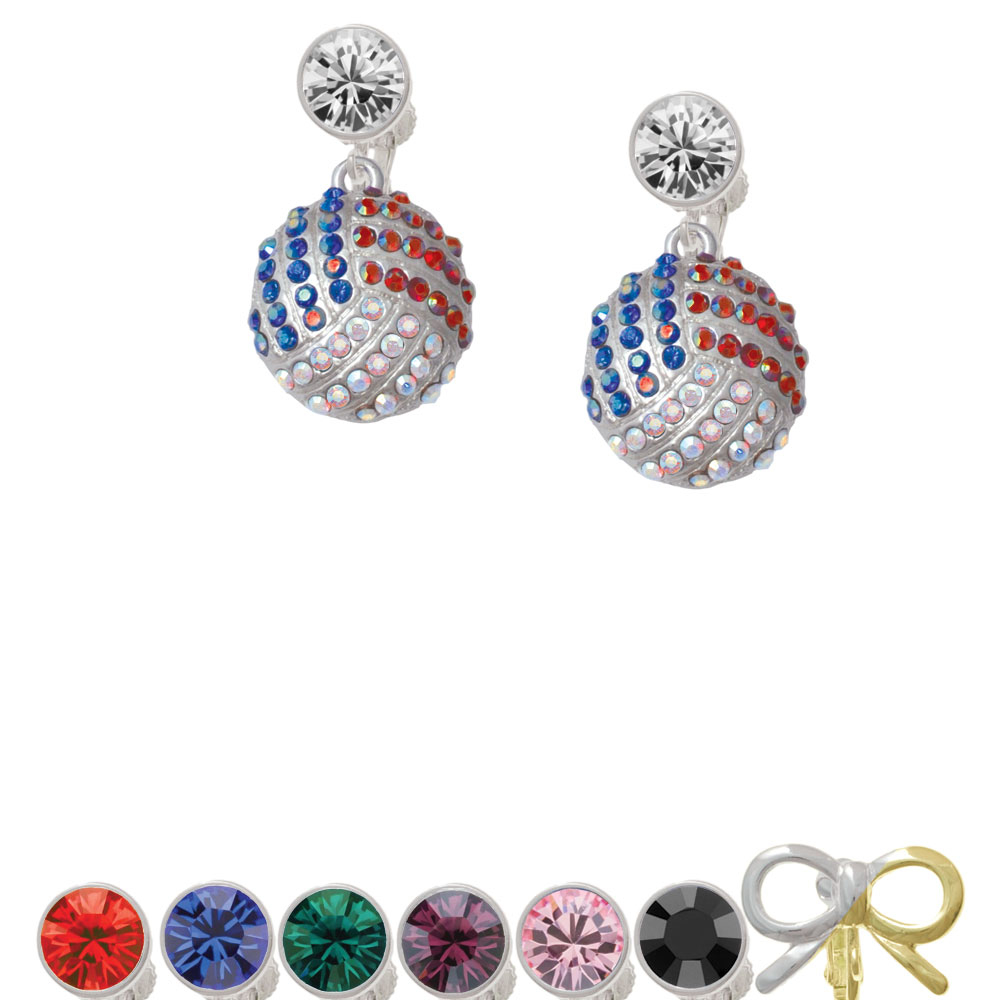 Large Super Sparkle Crystal Red White & Blue Volleyball Crystal Clip On Earrings xmas white tank top 2nd sparkle red birthday number with red snowflakes ruffles
