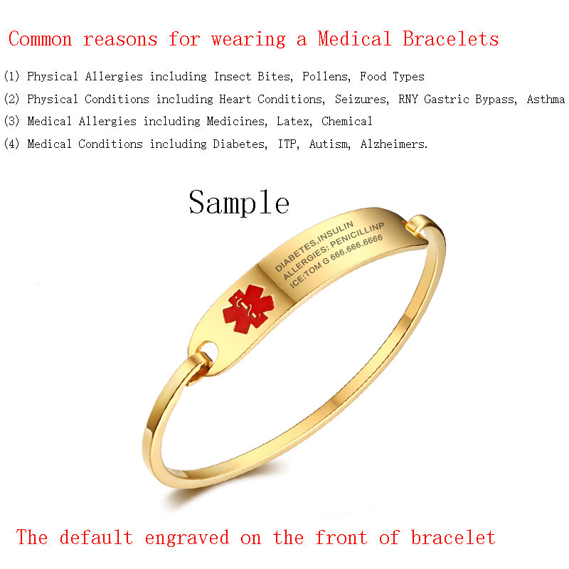 (Free Engraving)Women Stainless Steel Silver & Gold Color Medical Alert ID Bangle Bracelet,Cuff Bangle for Female Gift Jewelry 4