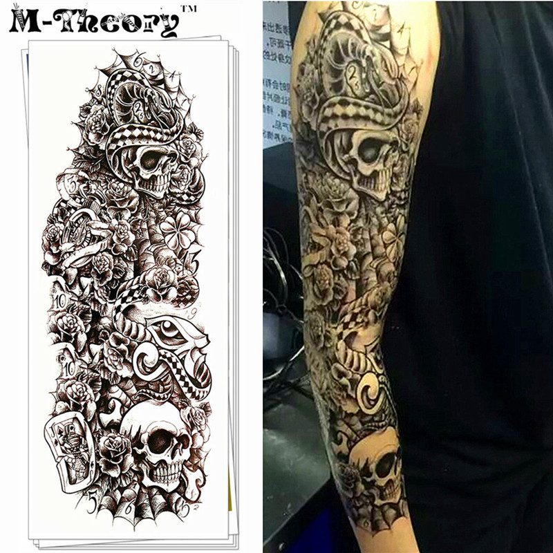 men fashion sleeve tattoo stickers water transfer body art 100 safe waterproof 3 5 days in. Black Bedroom Furniture Sets. Home Design Ideas