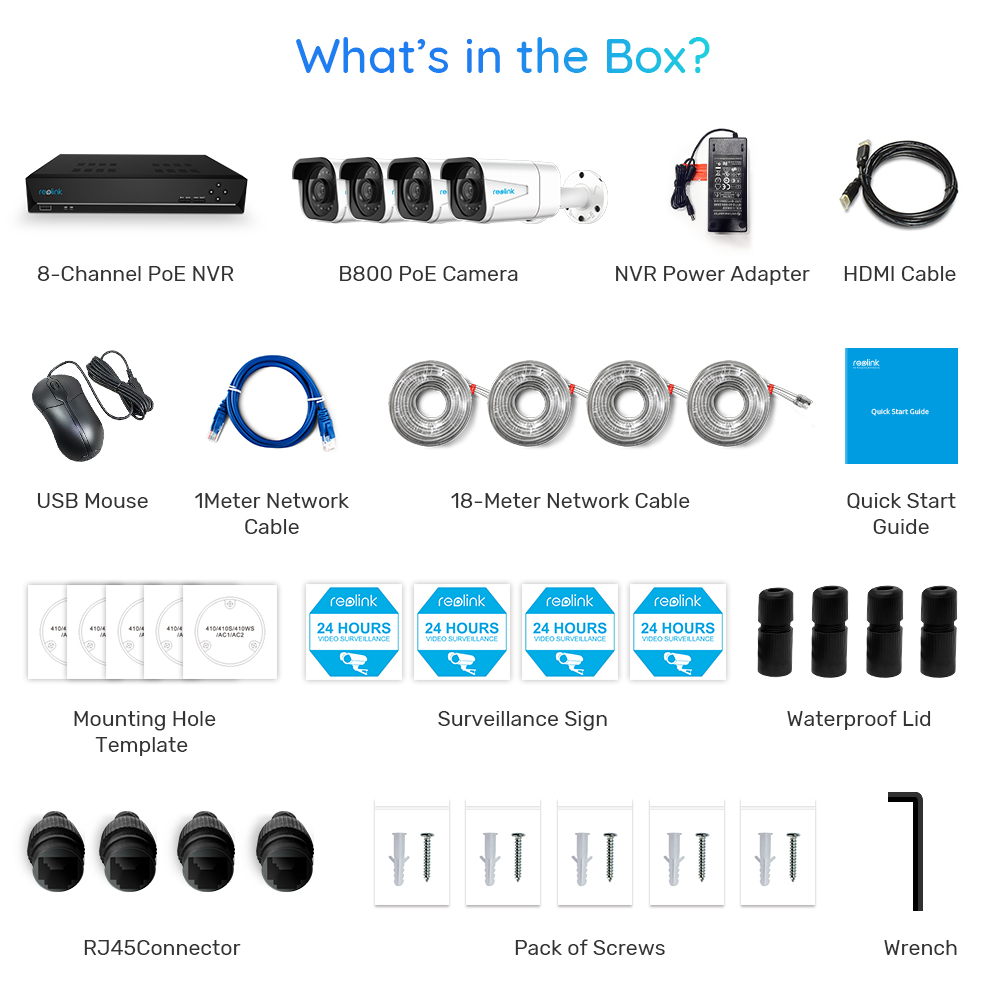 Reolink – caméra de sécurité extérieure, Kit NVR 4K 8ch 8MP plus 8ch 4K NVR 2TB HDD, IP66 RLK8-800B4 6