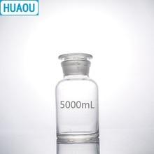 HUAOU 5000 مللي واسعة الفم الكاشف زجاجة 5L شفاف واضح الزجاج مع الأرض في سدادة الزجاج مختبر الكيمياء المعدات