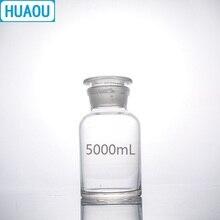 HUAOU 5000mL ปากขวดรีเอเจนต์ 5L ใสแก้ว GROUND ในแก้วห้องปฏิบัติการเคมีอุปกรณ์