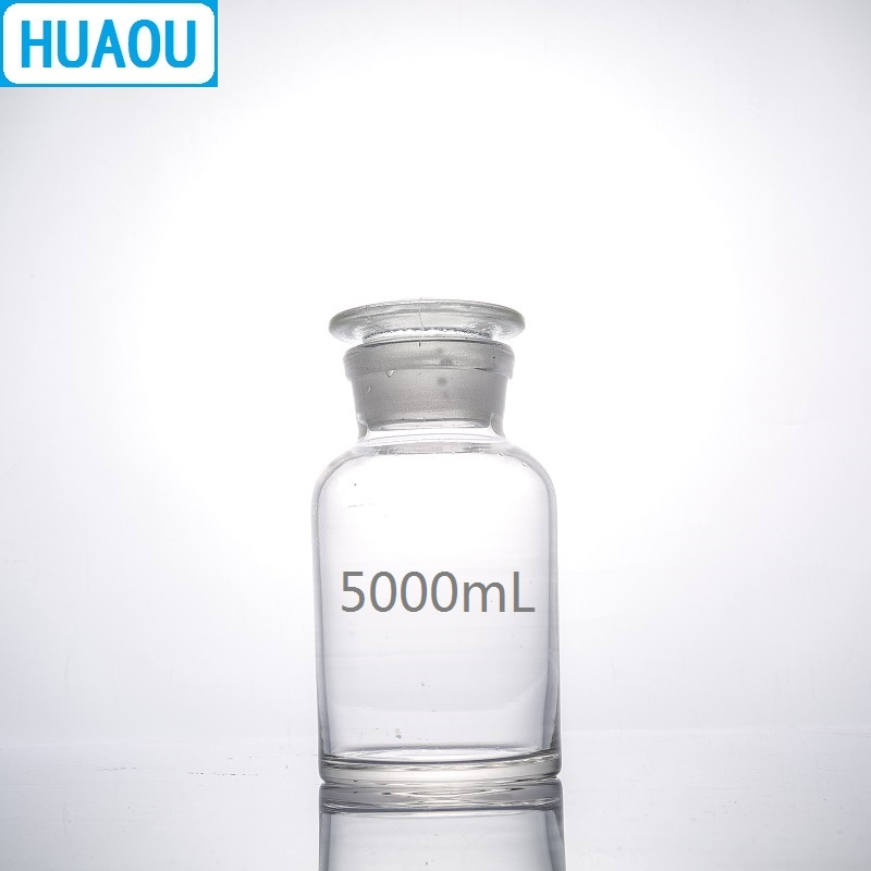 HUAOU 5000mL Wide Mouth Reagent Bottle 5L Transparent Clear Glass with Ground in Glass Stopper Laboratory Chemistry EquipmentLaboratory Bottle   -