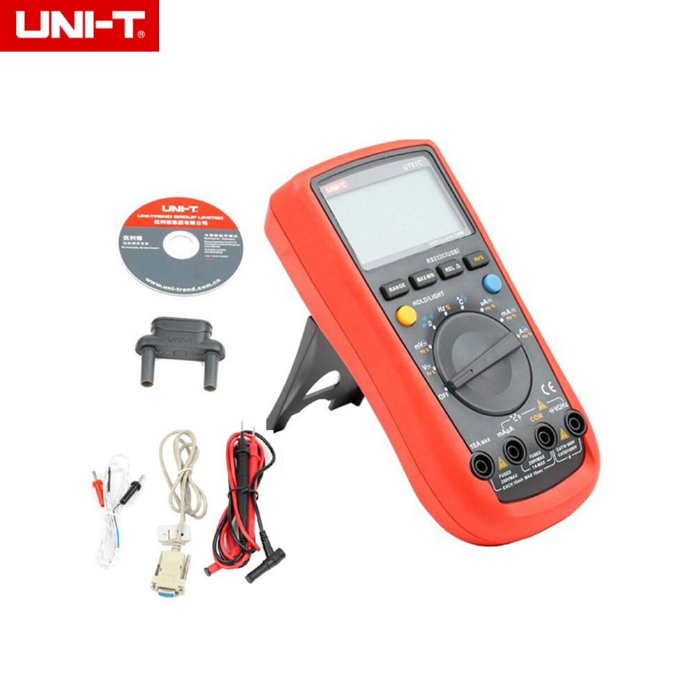 UNI-T UT-61C Modern Digital Multimeters UT61C AC/DC voltage current auto/manual range Meter backlight & RS232 мультиметр uni t uni t ut71b alicate amperimetro ac dc