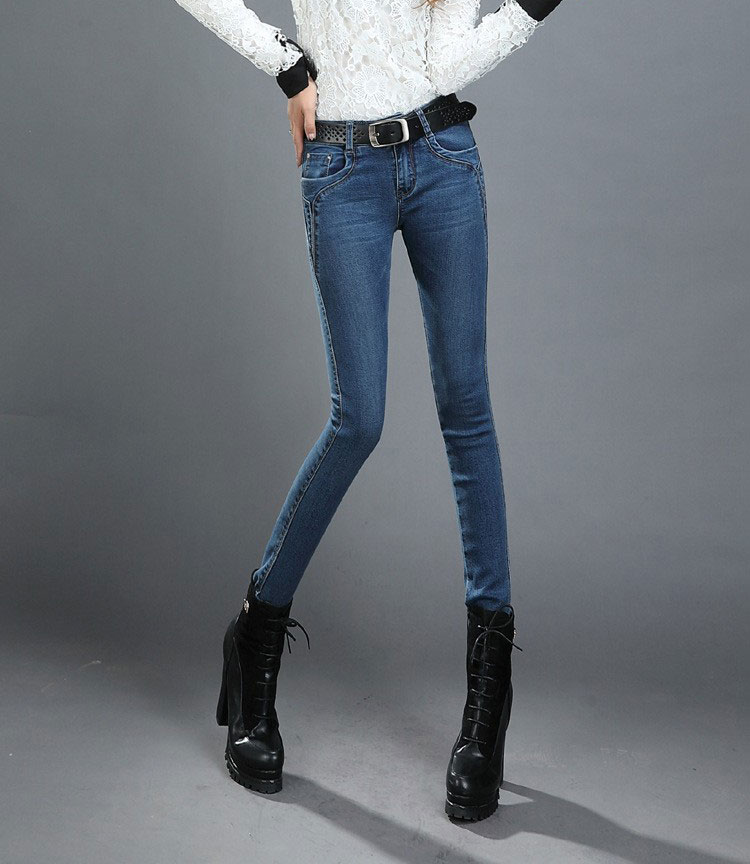guoran} 2017 узкие джинсы брюки для женщин плюс размер синий джинсовые брюки тощие дамы pantalon Гетте джинсы леггинсы не бархат