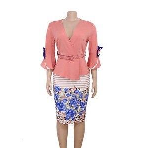 Image 4 - בגדים אפריקאים אלגנטי התלקחות שרוול Bodycon שמלת נשים 2019 צווארון V קשת מודפס חגורת עיפרון שמלה באיכות גבוהה משרד ליידי XXXL