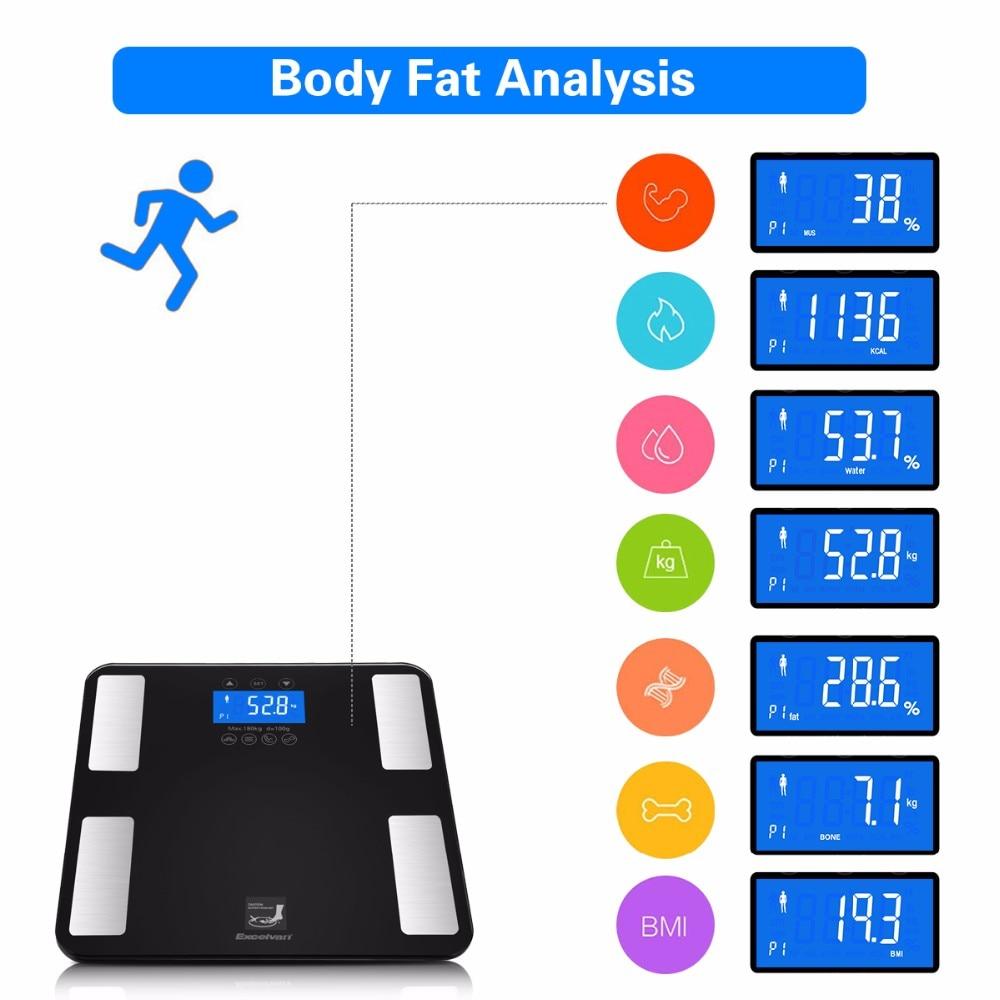 EXCELVAN LCD Display Körper fettwaage 6mm Gehärtete Glasplattform Messung KCAL