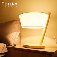 IDERAN Table Lamp Modern Wood Desk 2 Color Cloth Shade Lighting To Protect Decorative Bedside Lamp
