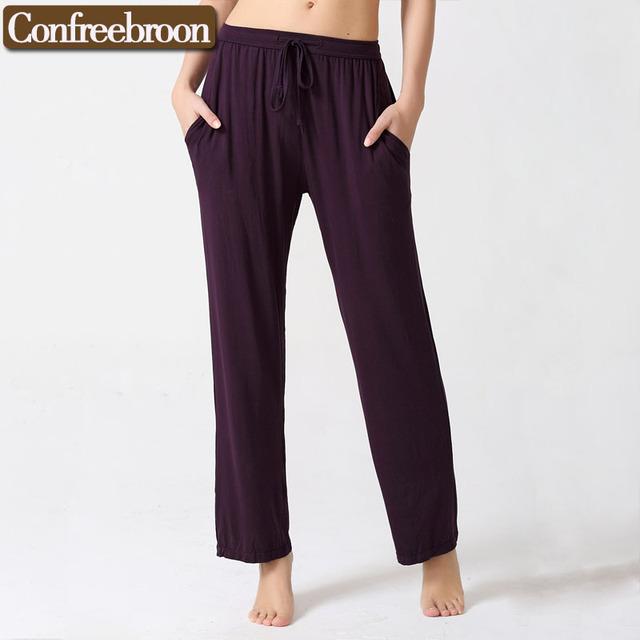 Pantalones de Pijamas Pijamas Salón de las mujeres Delgadas Modales Suaves Del Medio Ambiente Teñido Loose Pantalones Casual Suit Para Las Cuatro Estaciones C815