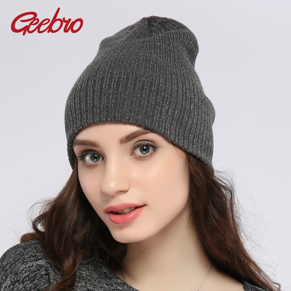 Geebro Authentic 2017 New Brand Women's Winter Hats Metallic Silver Color Knitted   Skullies     Beanies   for Girl Spring Bonnet JS291A