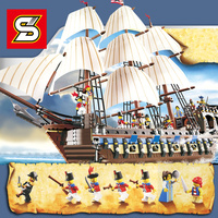 SY 1201 Imperial Pirate Ship Model Building Blocks bricks Boat 1664PCS legoingly creator 10210 set Educational Toys for Children
