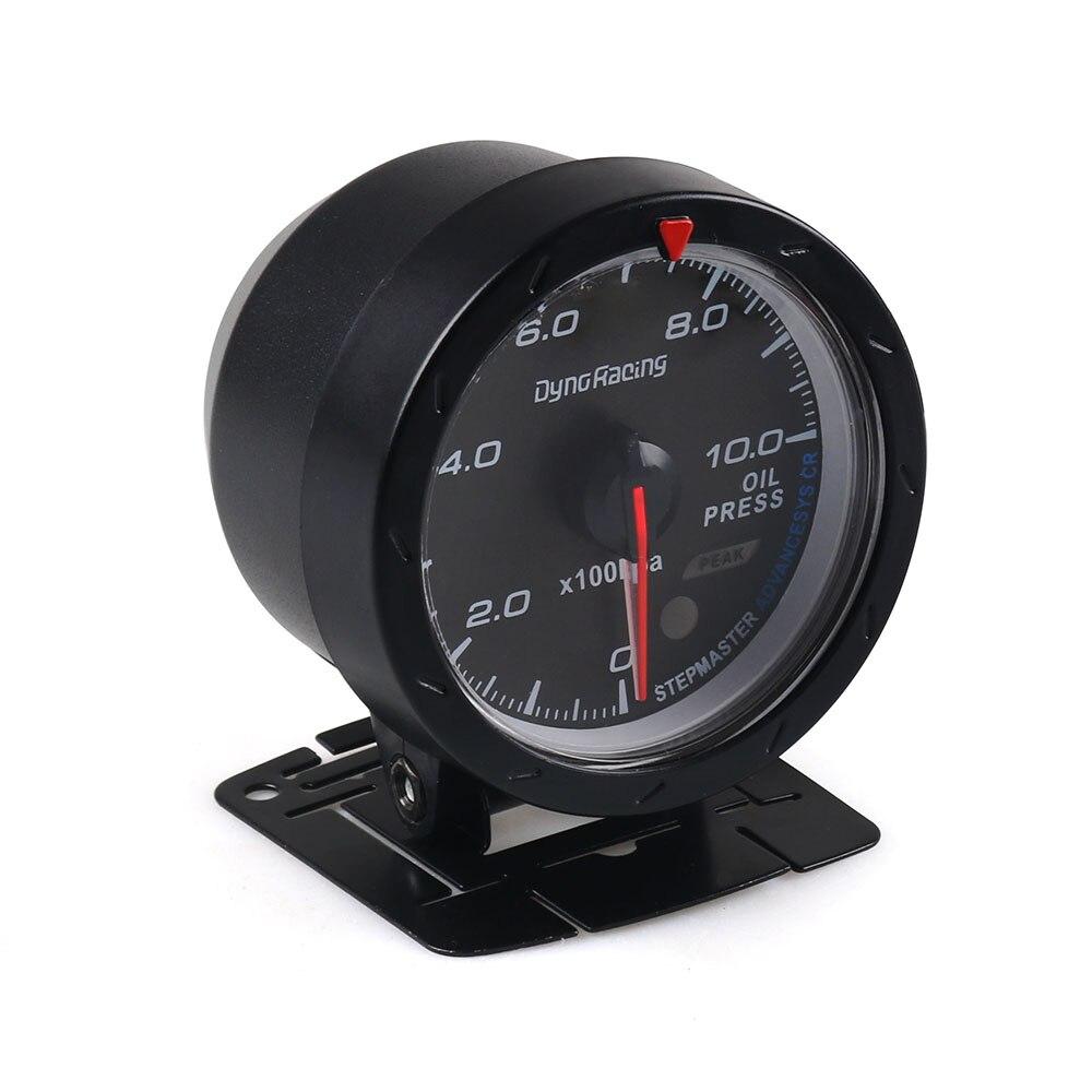 Dynoracing 60 мм Автомобильный манометр давления масла 0-10 бар Масляный Пресс-метр красный и белый Освещение автомобиля метр с датчиком давления масла