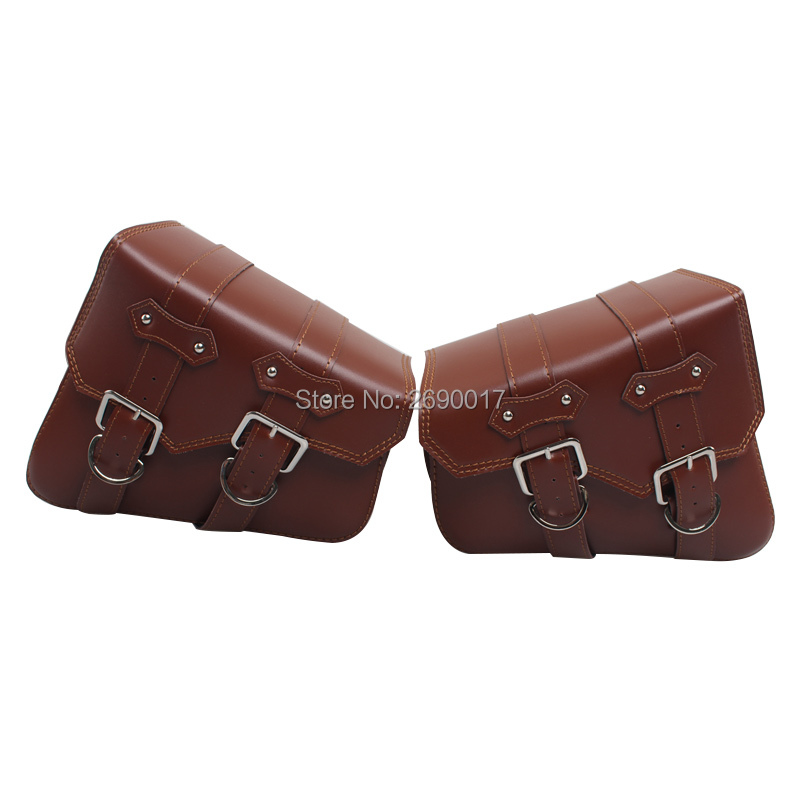 2x Universal Motorcycle PU Leather Saddle bags Cruiser Side Storage Tool Pouches Fits For Harley Sportster
