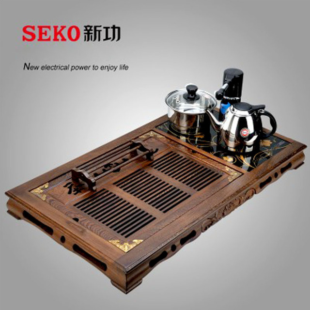 Chinese Tea Set Brewing Used Wooden The Samovar Kung Fu Tea Table Full  Automatic Electromagnetic Kettle