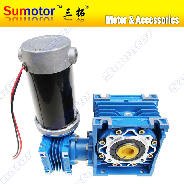 DC 24V 6.5A 100W GW030050 Ultra low speed High Transmission ratio High Torque dual-shaft Output bore Electric Worm Gear Motor