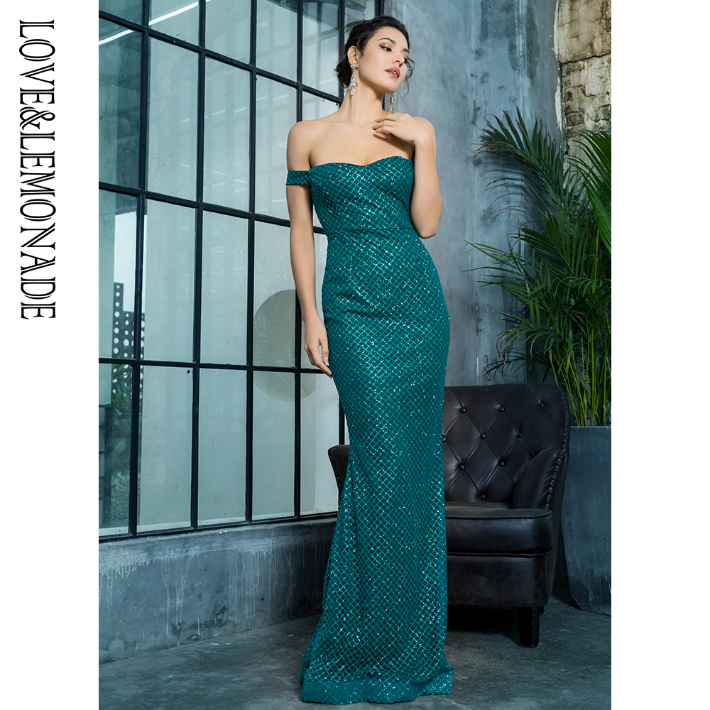 Love Lemonade Sexy Off the Shouleder Open Back Glue Bead Material Long Dress LM81343 2GREEN