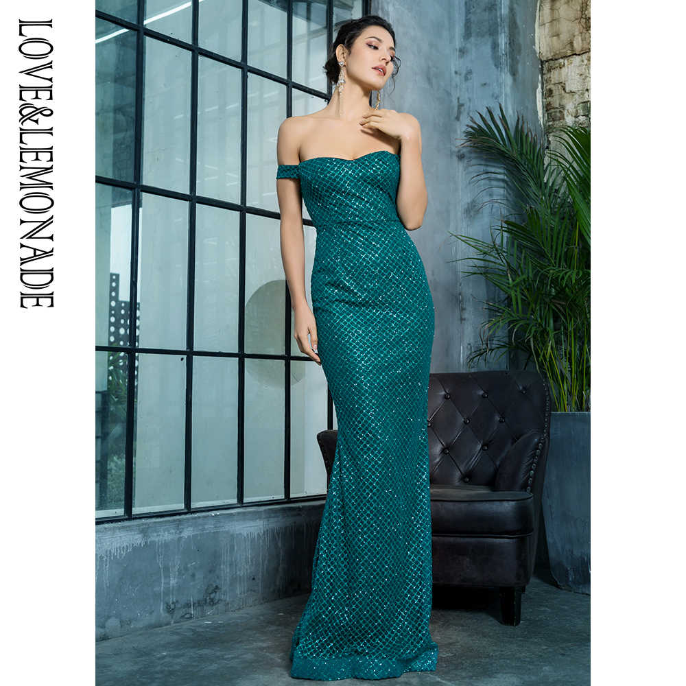 Love & Lemonade сексуальное платье с открытым задним клеем из бусин длинное платье LM81343-2GREEN