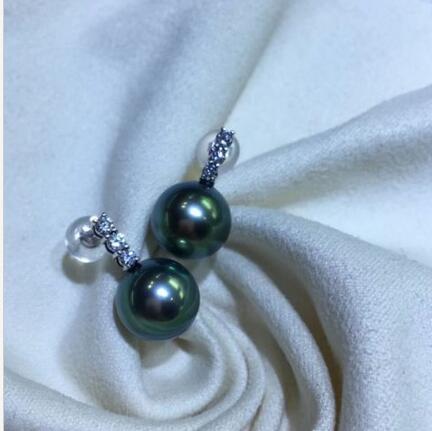 > Благородный ювелирные изделия потрясающие AAA круглый 10-11 мм Tahitian черный зеленый жемчуг серьги 14 К