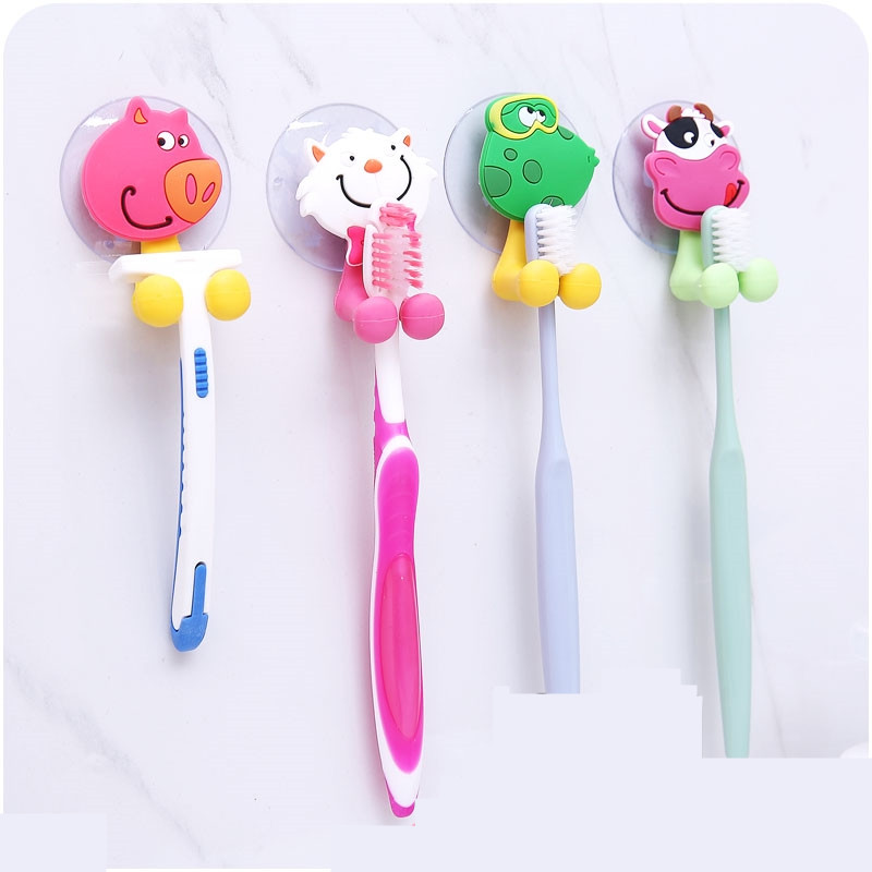 4Pcs Animal Minion Suction Cup Toothbrush Holder Bathroom Accessories Set Wall Suction Holder Tool lovers'suits Toothpaste image