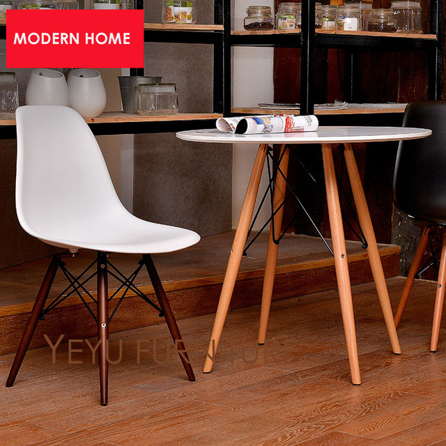 Minimalist Modern Design Plastic Seat And Walnut Color Solid Wooden Leg  Base Dining Side Chair Modern Home Simple Design Chair