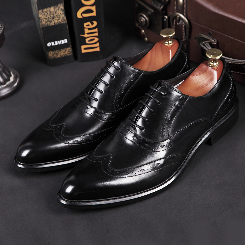 2018 New Men Business Shoes High Quality Genuine Leather Men Brogues Shoes Bullock Men Dress Shoes Male Formal Shoes Comfortable forudesigns cute cartoon winx club girls school bags small children book bag for kindergarten women shoulder bag kids mochila