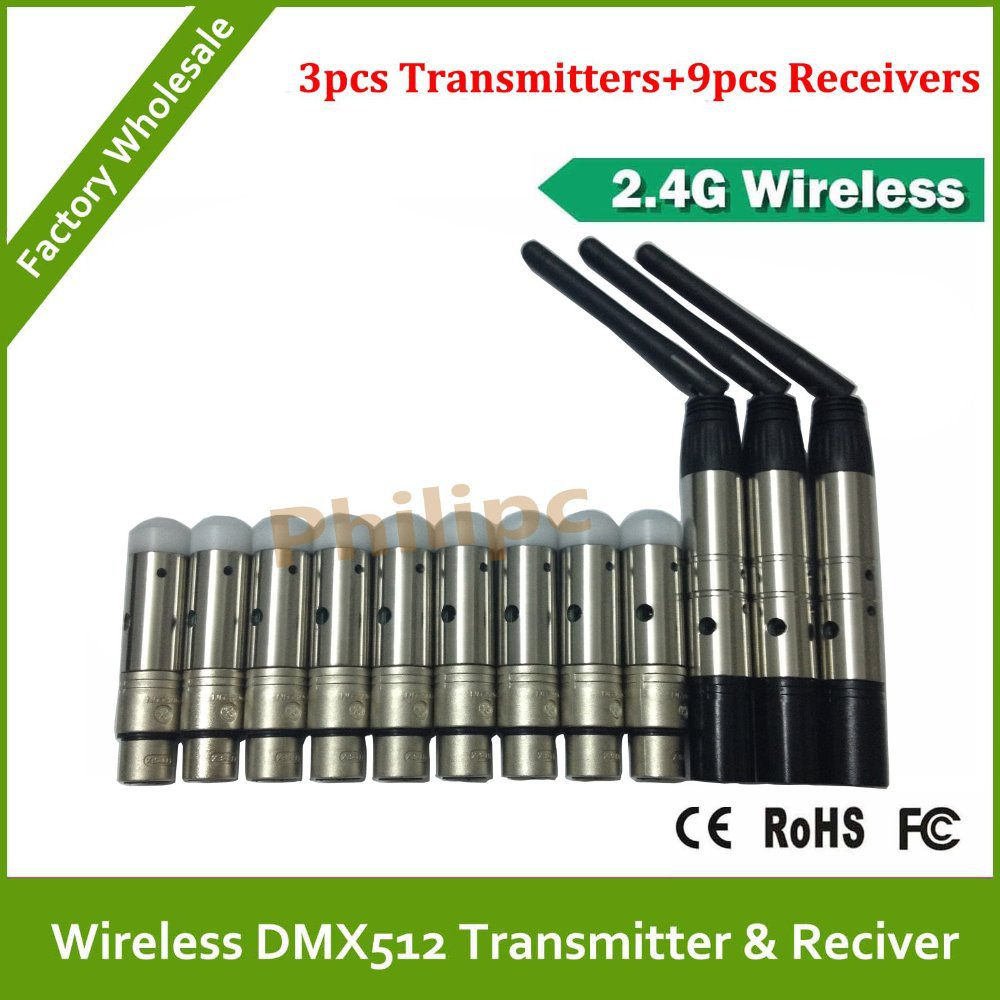 DHL Free shipping Hot sale 2.4Ghz ISM DFI WDMX wireless DMX512 transmitter & receiver wireless dmx controller LED DMX 10pcs lot hot sale free dhl shipping white and black 100