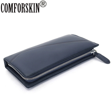100% Luxurious Long Large Capacity Multi-Card Purse First Layer Of Real Leather Business Soft Man Clutch Wallet 2017 Hot Sale vintage multi card bit long wallet first layer of real leather men s purse crazy horse leather busniess high capacity clutch men