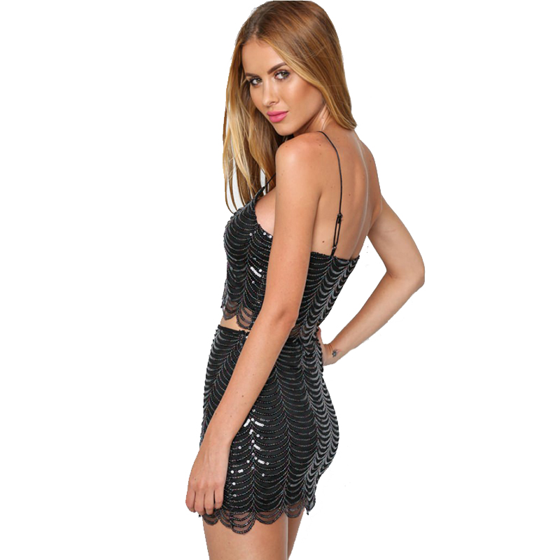 Sexy Black Gold Sequins Dress Women Spaghetti Strap Summer Dress Midi Short Sundress Luxury Night club Party Dresses Vestido New in Dresses from Women 39 s Clothing