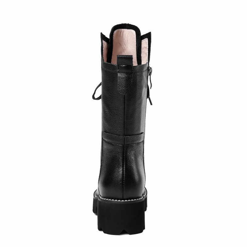 ASUMER สีดำแฟชั่นฤดูใบไม้ร่วงฤดูหนาวรองเท้าผู้หญิง Zip CROSS ผูกกลางลูกวัวรองเท้าส้นคลาสสิกสุภาพสตรีของแท้รองเท้าหนัง