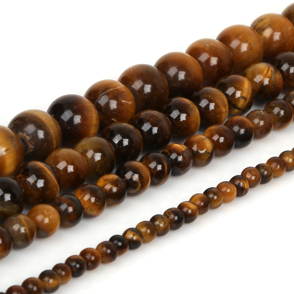 Natural Stone Beads : Tiger eye beads natural stone round spacer loose